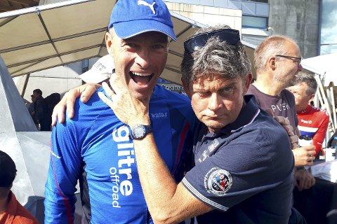 Barket sammen i Birken: Jon Arne Fossen (t.v.) og Reidar Bjørkli utkjempet en durabelig duell om å komme først i mål i årets Birkebeinerritt. I fjor var Fossen så vidt foran – i år var det Bjørklis tur.