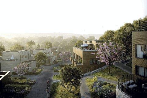 Nytt nabolag: Sånn blir nabolaget Soltoppen seende ut. Alt nå er snart halvparten av de 38 boligene solgt.