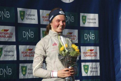 Gikk til topps: Linnea Winsvold fra Tranby og Lier IL, gikk uventet helt til topps i jentenes 17-årsklasse under NM-sprinten i Rulleskiskyting på Gautefall. Foto: Privat