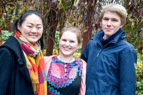 KLASSISK AFTEN: Marte Arnesen (22) fra Tranby, Eva Langeland Gjerde (23) fra Horten og Jon Martin Høie (22) fra Gullaug byr opp til vakker musikk på Lier kulturscene torsdag 7. november.