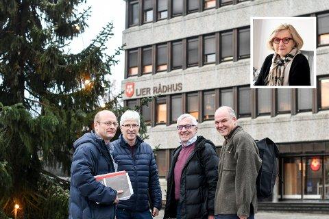 STYRKER OPPVEKST: Lars Haugen (Frp), Morten Egeberg (KrF), Søren Falch Zapffe (H) og Espen Lahnstein (Sp) står bak budsjettforslaget, som må tåle kritikk fra blant andre Høvik-rektor Lisbet Grøvdal (innfeldt), for ikke å innfri kravet til  lærernorm fra nyttår.