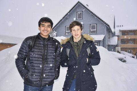 Klare for Innsats: Karan Singh Dhesi (t.v.) og Ola Amadeus Åsly Teigen (begge 15) tilbyr hjelp i nærmiljøet.