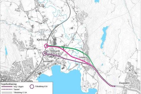 UTREDES: Dette er de tre traséene Statens vegvesen foreslår å utrede: Jensvoll- (lilla), Vitbank- (rød) og Huseby-alternativet (grønn).