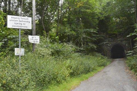 Skal ikke brukes: Tunnelen på jernbanelinja er ikke trygg, og man ferdes gjennom på eget ansvar. Foto: Guro Haverstad Torgersen