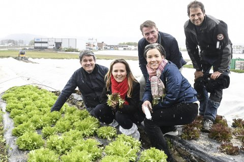 PÅ HUSEBY: Tom-Christer Nilsen, Linda Hofstad Helleland og Kårstein Eidem Løvaas fra Høyres næringsfraksjon, sammen med ordfører Gunn Cecilie Ringdal og daglig leder Hans-Albert Huseby.