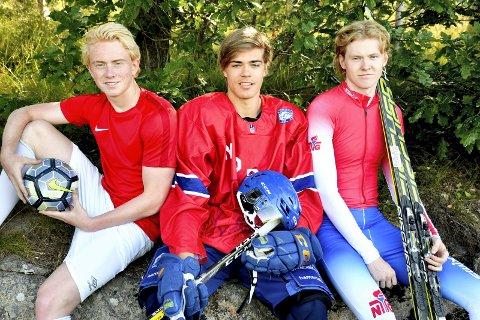 Tre kamerater, tre idretter: Sander Røed, Jonathan Hafsmoe og Andreas Tronsli gikk alle i samme klassetrinn på Hallingstad skole. Nå er de i heltidsutøvere i hver sin idrett. Foto: Stein Styve