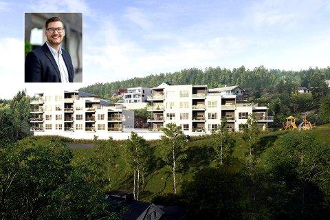 Med marka som nabo: Slik skal Reistadtoppen ligge i nabolaget, med marka som nærmeste nabo. – Utsikten er veldig god, sier Andreas Johnsrud (innfelt), prosjektmegler i DNB Eiendom Nybygg.