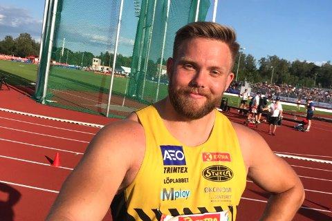 NM-gull nummer to i boks: Ola Stunes Isene leverte en jevn og sterk serie i diskoskonkurransen under NM i friidrett på Hamar, og ble norsk mester for andre året på rad, med et kast på 63.17 meter.