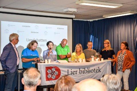 Solid panel: Alle partiene stiller med toppkandidatene til debatten onsdag. Her fra en tidligere debatt på biblioteket, f.v. Morten Egeberg (KrF), Morgan Langfeldt (Frp), Gunn Cecilie Ringdal (Høyre), Espen Lahnstein (Sp), Janicke Karin Solheim (MDG), Tor Haugen (Venstre), Silje Kjellesvik Nordheim (Ap) og Kathy Lie (SV). Det vil være det samme panelet på Haugestad bortsett fra Venstres Tor Haugen, som erstattes av Tove Hofstad.