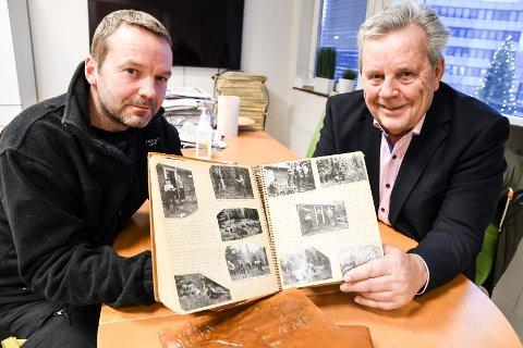 VIKTIG KILDE: Dagbøkene til motstandsmannen Gullik Steen har vært den viktigste kilden  til boka. Her med barn og barnebarn Inge (til venstre) og Terje Steen.