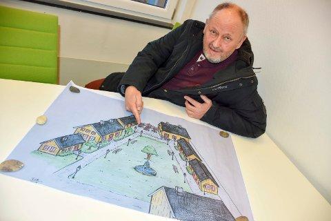 Bygninger i stedet for biler: Vidar Brastad foreslår en småhusbebyggelse med butikker og spisesteder på det som i dag er langtidsparkeingen bak godslageret i Lierbyen.