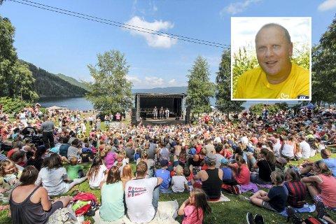 Sånn blir det ikke år heller: Det er med tungt hjerte festivalsjef Narve Holmen (innfelt) sier de ser seg nødt til å avlyse årets Jordbæreventyr.