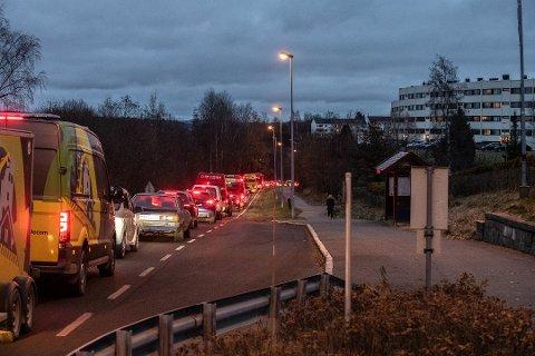 KØ: Stengingen av Strømsveien fører til køer mange steder.