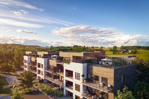 FASADE: Slik vil bygget med de 29 leilighetene ser ut utenfra.