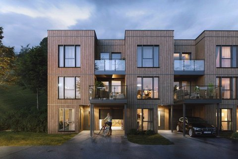 TRE ETASJER: Alle boligene går over tre etasjer, og fra den øverste etasjen skal man ha god utsikt over boligene foran.
