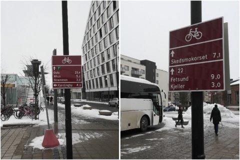 HVILKEN VEI? Skiltene som skal vise vei for syklistene er oppe, men viser de virkelig riktig vei?