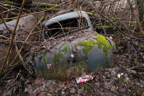 GAMMELT SKROT: Dette bilvraket er blant det som stikker opp av bakken like ved Norges Varemesse og Nitelva i Lillestrøm.