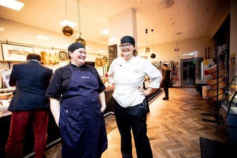 ØKNING: Daglig leder Cesilie Sæbø (t.v.) og butikksjef Camilla Holand i Rosenberg Spiseforrentning har økt omsetning i butikken til tross for korona. Likevel går de i minus i 2020.