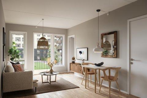 STUE: Slik kommer stua/soverommet til å se ut i den 21 kvadratmeter store leiligheten på Skårer i Lørenskog, med unntak av dørene på høyre side av bildet.