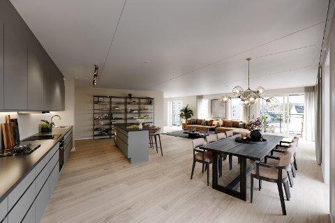 ROMSLIG: Slik kan stua komme til å se ut i den dyreste leiligheten som er til salgs i Lørenskog akkurat nå. Leiligheten blir innflytningsklar i 2023.