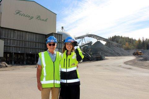 TØFT ÅR: Året har vært tøft særlig for pukk- og grusvirksomheten ved Feiring AS. Her er styreformann Trygve Ollendorff sammen med konsernleder Margrethe Ollendorff Lien.