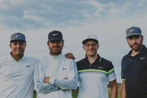 Fire svensker: Jone Sölvik, Bosse Weberg, Robert Jäderkvist og Mickael Tannus tok turen fra Sverige for å spille golf.Foto: Mickael Tannus