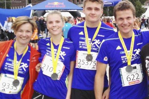 På løpetur: Hege Mørtsell, Kristin Mørtsell, Mats Hansen og Hallvard Schjølberg deltok på Oslo Maraton i 2015.Foto: Privat
