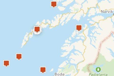 VIND: Her ser vi de målestasjonene som «Kystvær» har i Nordland.