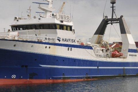 Godt år: Rederiet Havfisk har 105 millioner kroner i overskudd hittil i år. Her er tråleren «Kongsfjord» ved kai i Stamsund. FOTO: KAI NIKOLAISEN