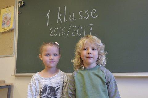 Strauman: Leah Sivertsen fra Gravermark og Vebjørn Pedersen fra Sydal er årets førsteklassinger fra Straumanområdet i år.