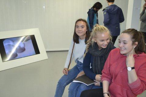 Galleribesøk: Ranja Helmersen (tv), Kristine Ringlund og Victoria Aga går i 1. klasse studiespesialiserende ved Aust-Lofoten videregående skole. – Kunst er nifst, kan være heslig, men uansett spennende, sier de tre. Alle bilder: John-Arne Storhaug.