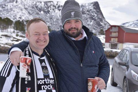 Gode venner: Selv om de møtes i duell i neste rundes tippemesterskap, forblir Svein Åge Bye og Hogne Bang Winther gode venner.foto: benjamin diseth