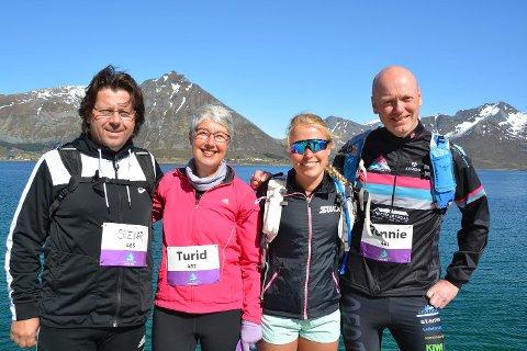 Firkløveret Steinar Evjen fra Flakstad, Turid Iversen fra Bergen, Christina Rolandsen fra Fauske som ble nummer to i dameklassen, og Ronnie Maas Pedersen fra Svolvær, gledet seg til løpet.