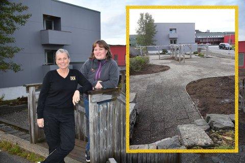 FIKSER: Lene Henningsen og Britt June Walle Hansen i Gravdal Opp og Fram får sammen med alle bidragsytere takk fra sykehusdirektøren etter innsatsen med sykehushagen.