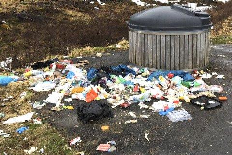 Vil ta grep: Rødt-politiker Gunnar Aarstein er lei av at offentlige containere fylles av søppel fra utleiehytter. Her  fra en tidligere sak om containere langs Lofast som overfylles.