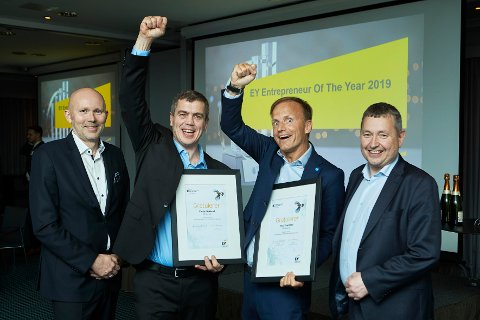 Finalistene fra Nord: Fra venstre: Arve Willumsen (EY), Stian Hokland, Thor Drechsler og Kai Astor Frøseth (EY).