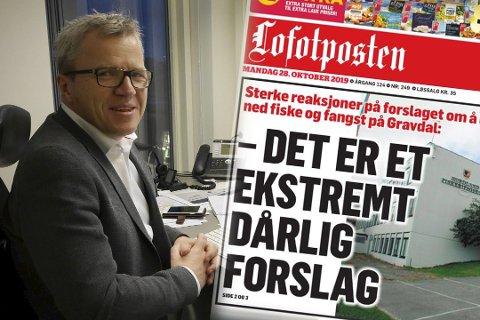 REAGERER: Gründer og forretningsmann Jim Roger Nordly argumenterer i mot forslaget om å legge ned fiske og fangst ved Vest-Lofoten videregående skole.