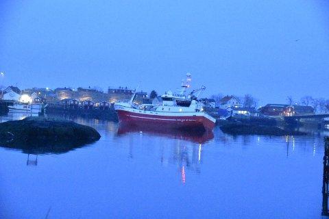 PÅ GRUNN: Fiskebåten gikk på grunn ved Hjellskjæret i Svolvær havn tirsdag kveld.