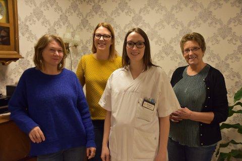 Enhetsleder: Charlott Jonassen (andre f.v) har takket ja til stilling som enhetsleder på Vestvågøy sykehjem. Her sammen med Heidi Hansen, Renate Henningsen og Milly Moland.