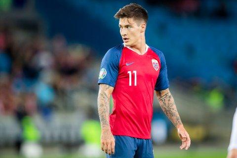 FLAGG PÅ BRYSTET: Norges Mathias Normann debuterer på landslaget under EM-kvalifiseringskampen mellom Norge og Malta på Ullevaal stadion.