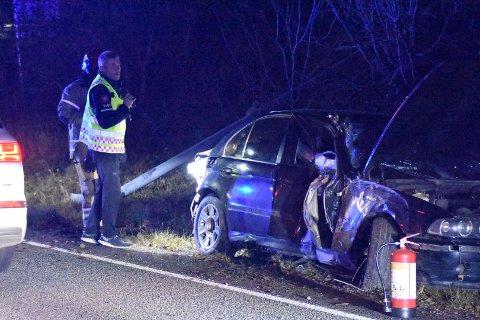 ULYKKE: Bilen har fått hard medfart.