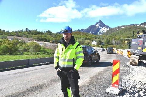 SJOKKERT: Anleggsleder Sten Tore Markussen og resten av de ansatte fikk sjokk da bilen kom i en meget høy fart gjennom anleggsområdet.