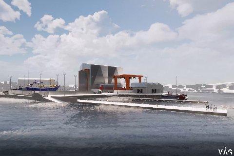BALLSTAD HAVN: Ballstad Slip, med lift for båter, ny hall og flytekaier. De neste årene skal bedriften investere i modernisering av bedriften. Illustrasjon: VÅG Lofoten AS