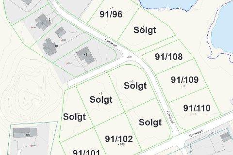 Vestvågøy kommune har  lagt ut et kart som viser de seks tomtene som fortsatt er ledig for salg i Hagvågen.