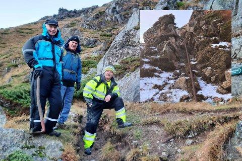 F.v. Tore Haug, Finn Borgvatn og Ivar Andersen monterte opp de nye skiltene langs stien opp på Ballstadheia torsdag.