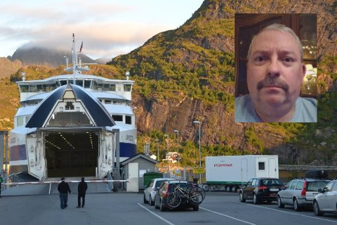Maskinsjef Kurt Roger Berg (innfelt) har liten tro på at det kommer 420.000 norske turister til Lofoten i sommer, men han tror likevel det blir mye trafikk på moskenesferga.
