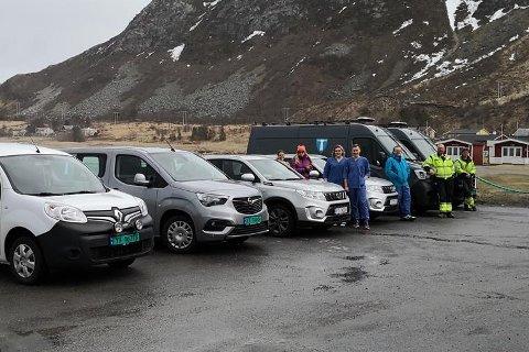Flakstad kommune fått seks nye biler til teknisk enhet og hjemmetjenesten.