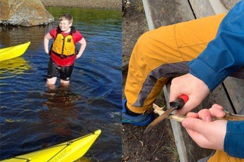 Elevene ved mellomtrinnet på Leknes skole har både padlet og spikket under vårens uteskole.
