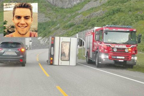 Jon-Vidar Bjølverud Aas (28) var på tur med kjæresten og de to vennene da campingvogna veltet i den sterke vinden utenfor Hamnøytunnelen mandag kveld.