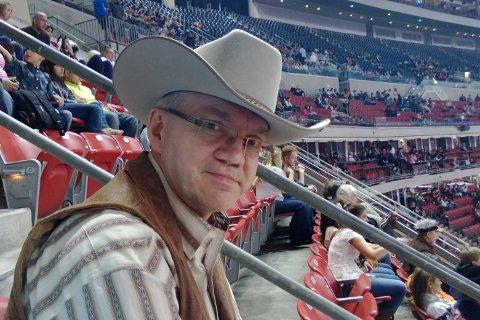 Morten Lamøy (56) på Houston rodeo.